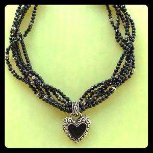 Jewelry - Black bead choker with heart pendant
